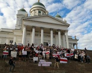 Demonstration in Helsinki to support protestors in Belarus