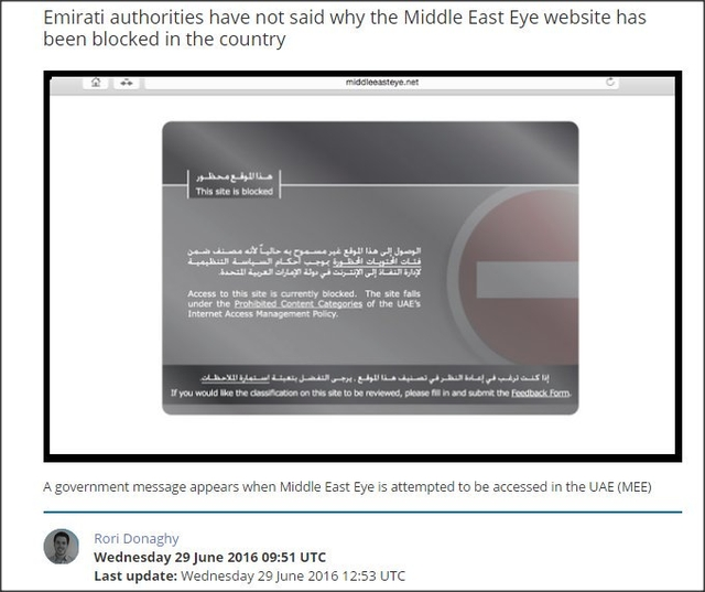 Uae government blocks access to online news site middle east eye middle east eye website has been blocked in uae ccuart Gallery
