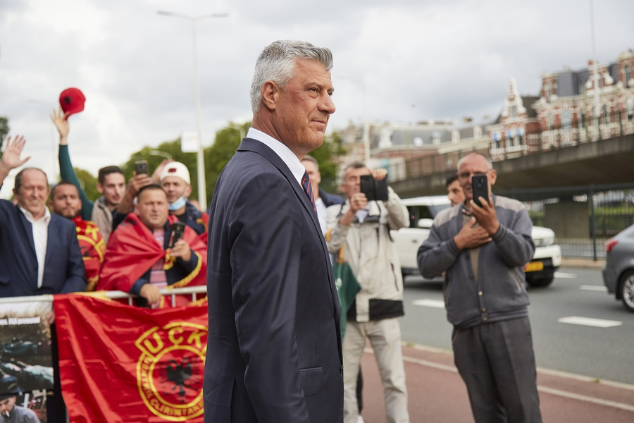 Protesters gather in support of President Hashim Thaci, who is accused of war crimes