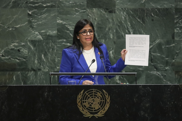 Vice President of Venezuela Delcy Rodriguez addresses the United Nations General Assembly at UN headquarters on September 27, 2019. (Photo by Drew Angerer/Getty Images).
